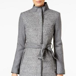 Vince Camuto Twill Wool Coat - Grey & Belted